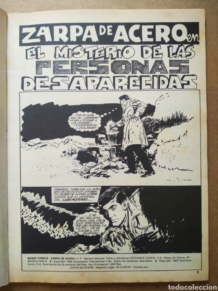 Cómics: Lote Zarpa de Acero, números 1-2-3-4-5 (Ediciones Surco, 1983). Línea 83 / Surco. - Foto 3 - 133460235