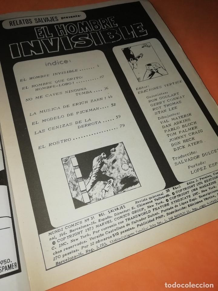 Cómics: RELATOS SALVAJES. EL HOMBRE INVISIBLE. VOL 1 Nº 31. BUEN ESTADO. - Foto 5 - 178761290