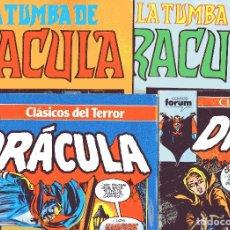 Cómics: DRACULA - LOTE 4 NUMEROS MARVEL 1973 - VERTICE 1981 / FORUM 1988 - STAN LEE Y OTROS. Lote 179341828