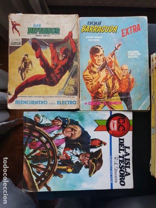 LOTE 3 TEBEOS / CÓMIC VÉRTICE DAN DEFENSOR N 38 AQUÍ BARRACUDA EXTRA 4 ORIGINAL (Tebeos y Comics - Vértice - Dan Defensor)