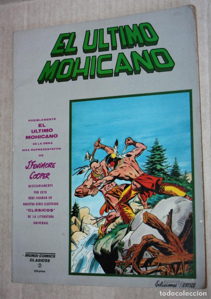 MUNDI COMICS CLASICOS Nº3: EL ÚLTIMO MOHICANO (TOMO) (Tebeos y Comics - Vértice - Surco / Mundi-Comic)