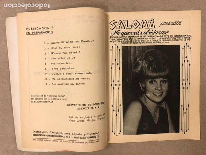 Cómics: AMOR YE-YE Nº 9 y N° 24 (EDICIONES VÉRTICE 1965). RITA PAVONE Y RICHARD CHAMBERLEIN. - Foto 4 - 211512365