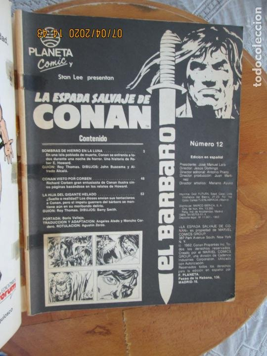 Cómics: LA ESPADA SALVAJE DE CONAN EL BARBARO Nº 12 SOMBRAS DE HIERRO - PLANETA 1982 - Foto 2 - 212023262