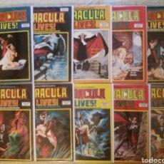 Cómics: ESCALOFRIO N°7, 11, 15, 28, 32, 36, 38, 41, 43, 44 (DRACULA LIVES!; FALTAN N°4, 24) -VERTICE-. Lote 216364118
