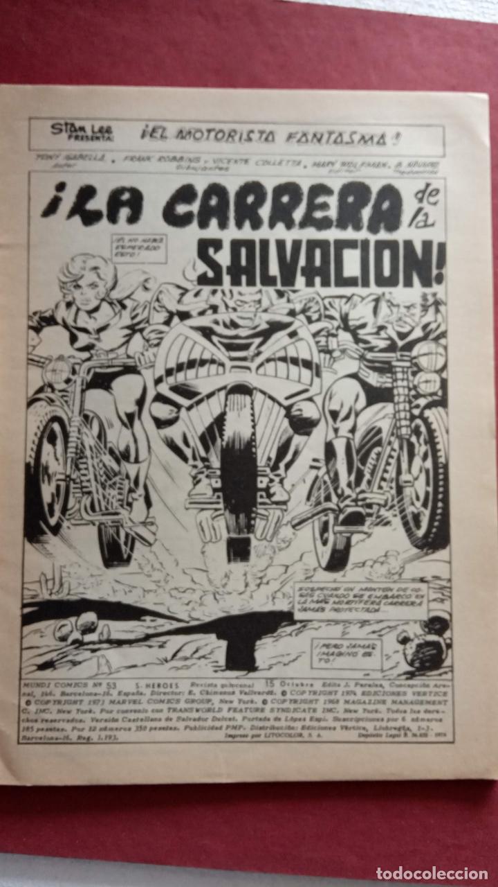 Cómics: SUPER HÉROES PRESENTA: Vº 2 Nº 53 EL MOTORISAT FANTASMA - EDI. VÈRTICE 1974 - REY KUL de ROY THOMAS - Foto 3 - 237510255
