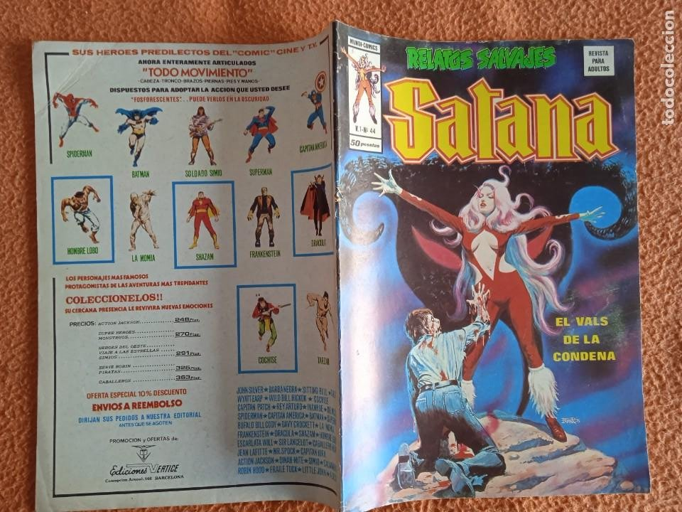 Cómics: VÉRTICE VOL. 1 RELATOS SALVAJES Nº 44 SATANA. 1977. 50 PTS. MUY DIFÍCIL!!!!!!! - Foto 2 - 251022570