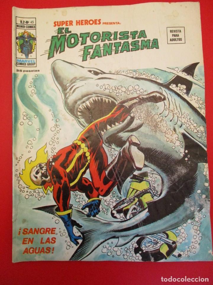 SUPER HEROES (1974, VERTICE) 45 · 1976 · EL MOTORISTA FANTASMA. SANGRE EN LAS AGUAS (Tebeos y Comics - Vértice - Super Héroes)