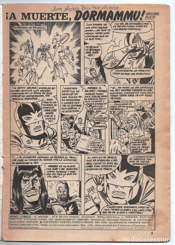 Cómics: 1979 MUNDI COMICS V1 # 8 TRIPLE ACCION LA MASA DORMAMMU DR STRANGE NAMOR SILVER SURFER - Foto 2 - 263100060