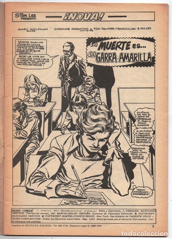 Cómics: 1979 MUNDI COMICS V1 # 37 NOVA STAN LEE MARV WOLFMAN CARMINE INFANTINO LA GARRA AMARILLA 38 PAG - Foto 2 - 263214955