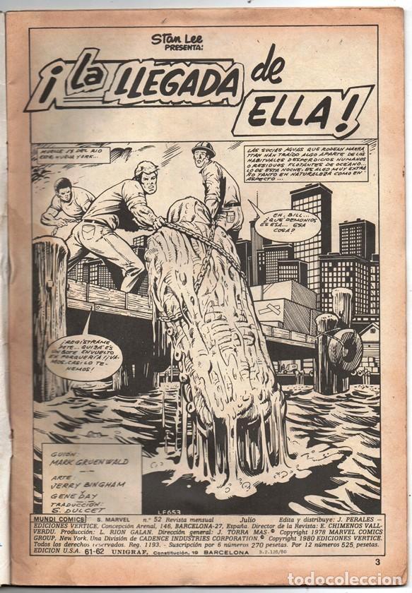Cómics: 1980 MUNDI COMICS V1 # 52 LA COSA LA MOLE STAN LEE JACK KIRBY MARK GRUENWALD BINGHAM 38 PAG - Foto 2 - 263217885