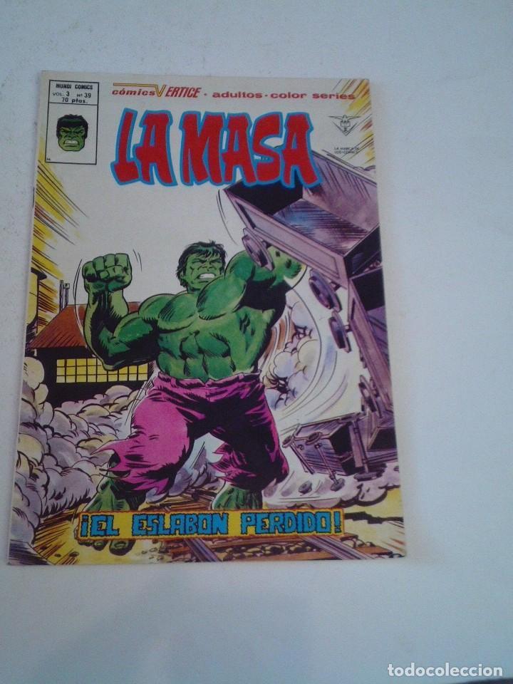 LA MASA - VERTICE - VOLUMEN 3 - NUMERO 39 - MUY BUEN ESTADO - PRIMERA APARICIÓN DE LOBEZNO- CJ 136 (Tebeos y Comics - Vértice - La Masa)
