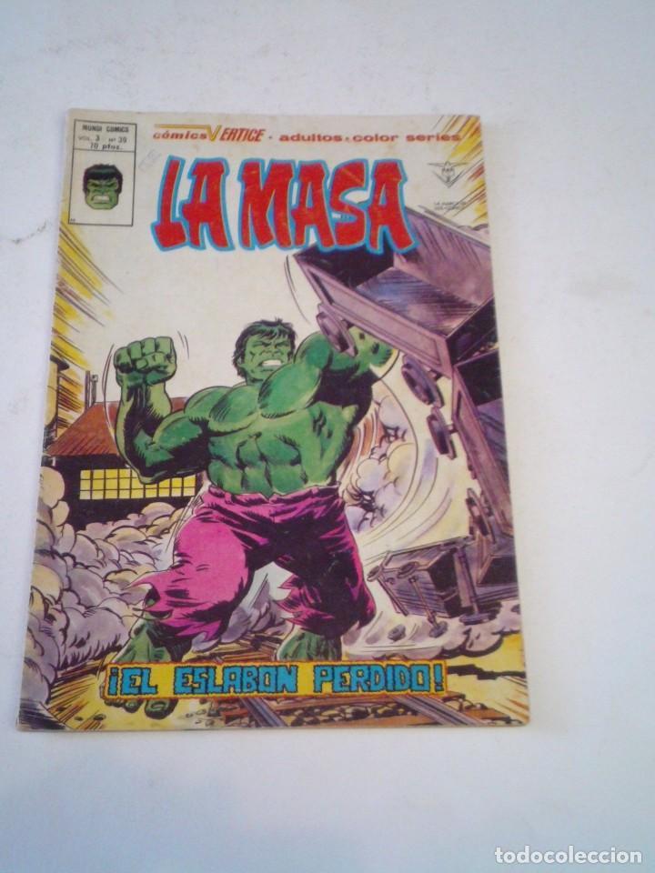 LA MASA - VERTICE - VOLUMEN 3 - NUMERO 39 - PRIMERA APIRICION LOBEZNO- GORBAUD - CJ 136 (Tebeos y Comics - Vértice - La Masa)