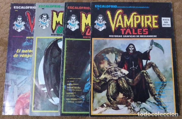 ESCALOFRIO Nº 10, 12, 16 Y 35 (VERTICE 1974) VAMPIRE TALES Nº 2 Y 9 + MONSTERS UNLEASHED 4 Y 5. (Tebeos y Comics - Vértice - Terror)