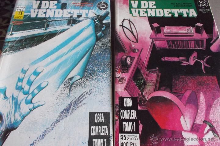 V DE VENDETTA, COLECCIÓN COMPLETA CON LOS 10 NÚMEROS RETAPADOS EN 2 TOMOS. ALAN MOORE, DAVID LLOYD. (Tebeos y Comics - Zinco - Retapados)