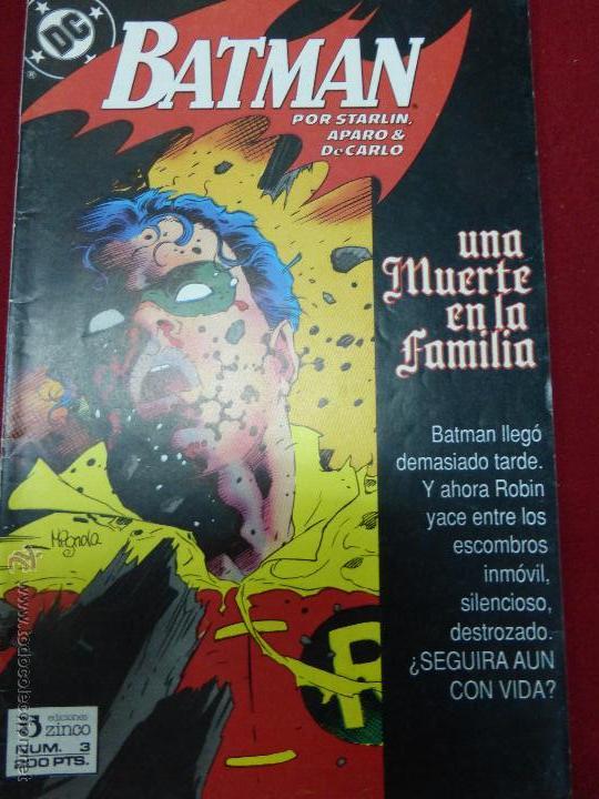 BATMAN - UNA MUERTE EN LA FAMILIA Nº 3 (DE 3) - DC (ZINCO) - AÑO 1988 (Tebeos y Comics - Zinco - Batman)