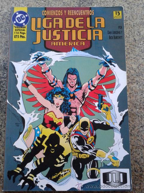 COMIENZOS Y REENCUENTROS , LIGA DE LA JUSTICIA AMERICA -- DC COMICS - EDICIONES ZINCO - 1996 -- (Tebeos y Comics - Zinco - Liga de la Justicia)