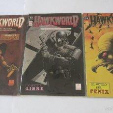 Cómics: HAWKWORLD ZONA DE ATAQUE CAIDA LIBRE EL VUELO DEL FENIX COMPLETA. Lote 58487160