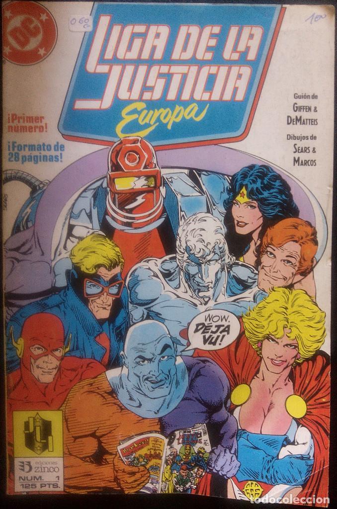 LIGA DE LA JUSTICIA DE EUROPA LOTE PACK DE 15 CÓMICS DEL Nº 1 AL Nº 15 EDICIONES ZINCO (Tebeos y Comics - Zinco - Liga de la Justicia)