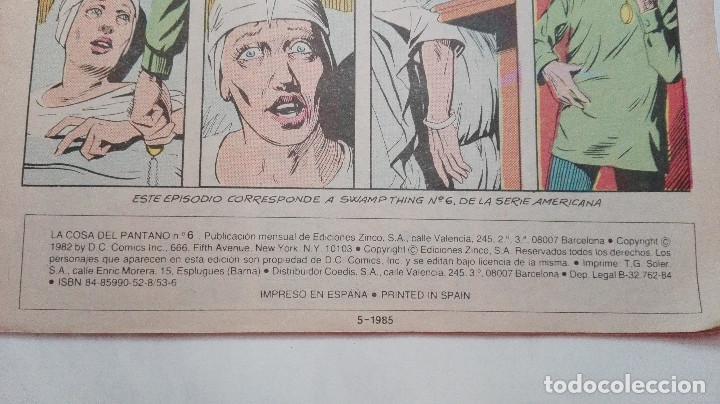 Cómics: COMIC - LA COSA DEL PANTANO N 6 - ZINCO - Foto 3 - 92200905