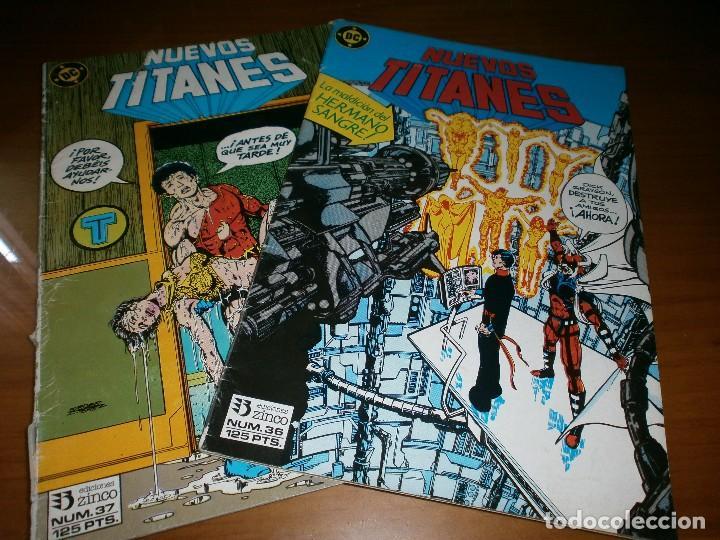 LOTE 2 COMICS NUEVOS TITANES VOL. 1. Nº 36,37 - MARV WOLFMAN Y GEORGE PÉREZ - DC COMICS / ED. ZINCO, (Tebeos y Comics - Zinco - Nuevos Titanes)