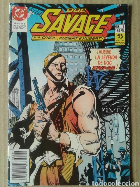 LOTE DOC SAVAGE. MINISERIE COMPLETA, NÚMEROS 1-2-3-4 (EDICIONES ZINCO, 1990). POR O'NEIL Y KUBERT. (Tebeos y Comics - Zinco - Otros)