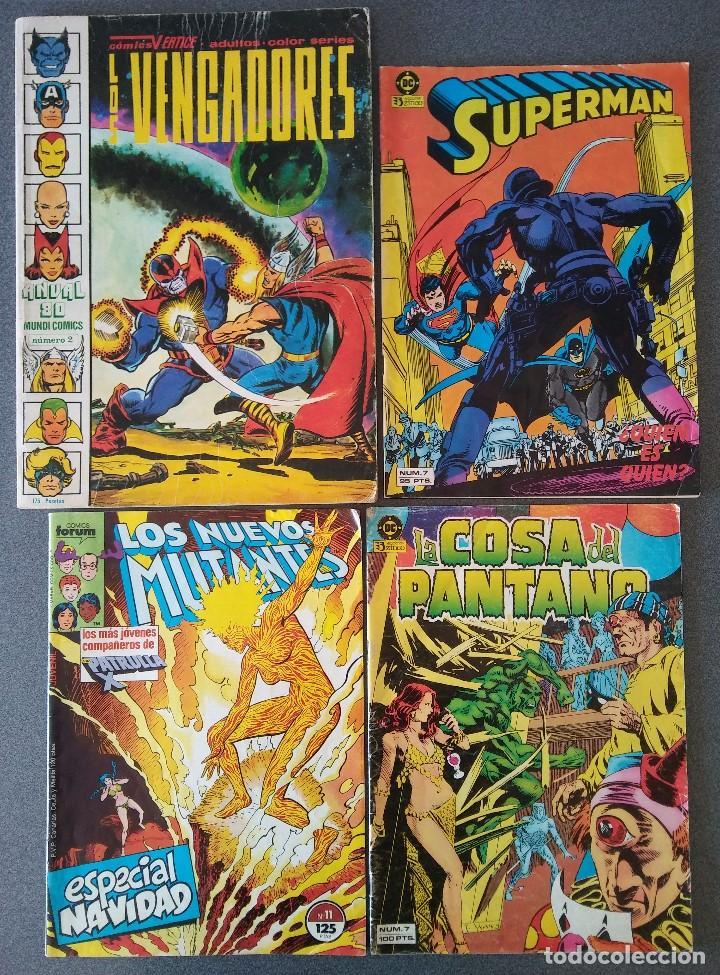 LOTE COMICS LOS VENGADORES SUPERMAN LOS NUEVOS MUTANTES LA COSA DEL PANTANO (Tebeos y Comics - Zinco - Otros)