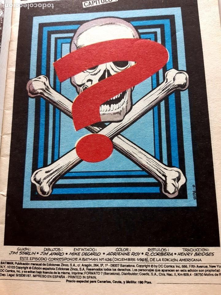Cómics: BATMAN Nº1 -EDITORIAL ZINCO-DC COMICS-1988 - Foto 2 - 210112107