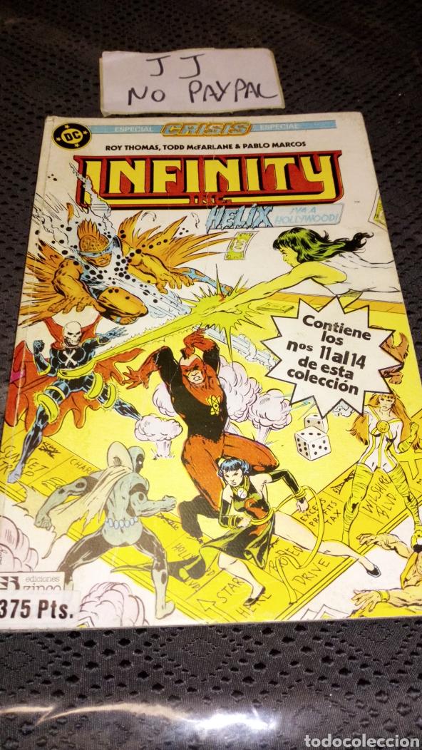 RETAPADO INFINITY 3 NÚMEROS DEL 11 AL 14 VER FOTOS ESTADO ARRUGAS EN EL LOMO ZINCO DC (Tebeos y Comics - Zinco - Infinity Inc)