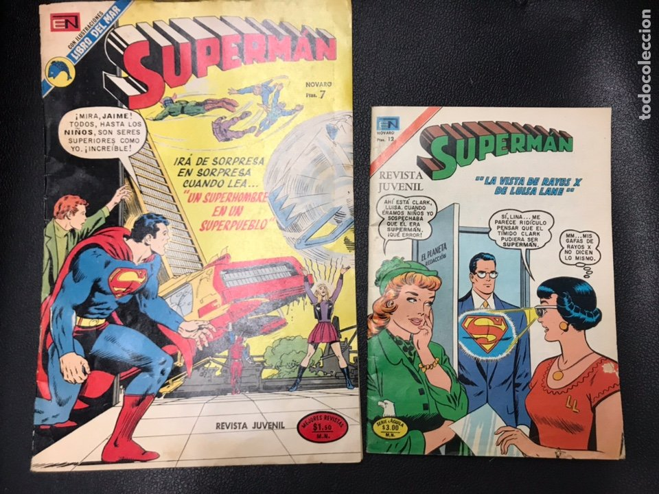 2 COMICS REVISTA JUVENIL NOVARO SUPERMAN AÑOS 70 (Tebeos y Comics - Zinco - Superman)