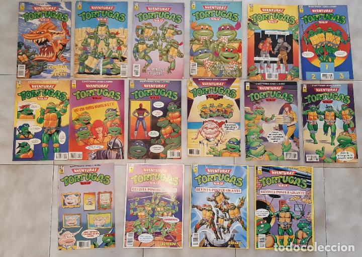 LOTE 16 COMIC TEBEO TORTUGAS NINJA ZINCO 1990 POSTER 1,3,4 Y 7,30,31,32,42,43,44,47,48,49,51,56,59 (Tebeos y Comics - Zinco - Otros)