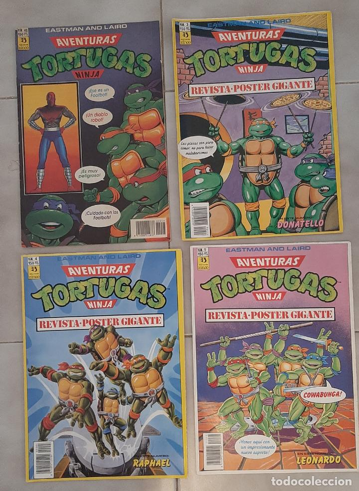 Cómics: LOTE 4 COMIC TEBEO TORTUGAS NINJA EDICIONES ZINCO 1990 REVISTA SUPER GIGANTE POSTER 1,3,4 Y 48 - Foto 2 - 271398163