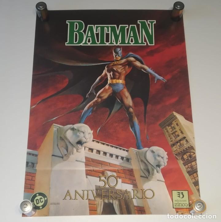 PÓSTER CARTEL BATMAN 50 ANIVERSARIO, DC COMICS EDICIONES ZINCO, MAYO 1989 ILUSTRACIÓN JERRY BINGHAM (Tebeos y Comics - Zinco - Batman)
