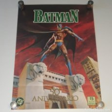 Cómics: PÓSTER CARTEL BATMAN 50 ANIVERSARIO, DC COMICS EDICIONES ZINCO, MAYO 1989 ILUSTRACIÓN JERRY BINGHAM. Lote 282000548