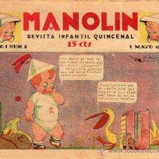 Cómics: (M-0) MANOLIN , REVISTA INFANTIL QUINCENAL, AÑO 1 NUM. 6 - 1 MAYO 1928. Lote 20322879
