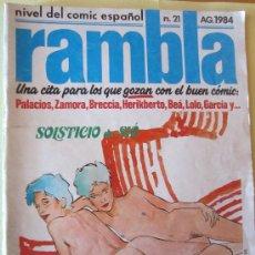 Cómics: RAMBLA Nº 21 AGOSTO 1984- PALACIOS,ZAMORA,BRECCIA Y OTROS. Lote 34089379