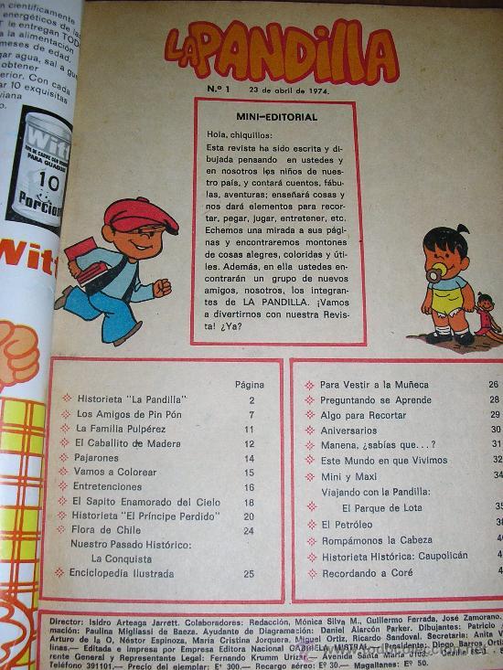 Cómics: LA PANDILLA - Nº 1 - Edic. Gabriela Mistral - CHILE - 1974 - RARO!! - Foto 2 - 37746886