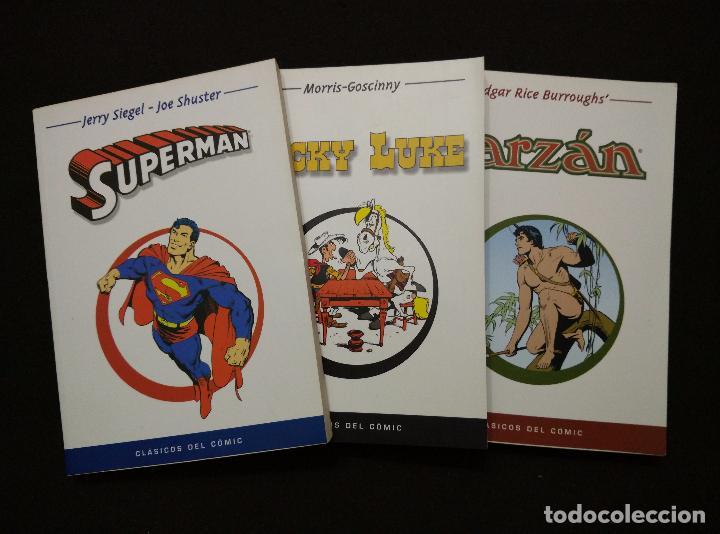 CLÁSICOS DEL COMIC. 3 TOMOS: LUCKY LUKE, SUPERMÁN Y TARZÁN. (Tebeos y Comics - Comics Pequeños Lotes de Conjunto)