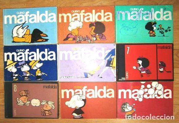 COLECCIÓN DE 9 TIRAS DE MAFALDA POR QUINO DE ED. LUMEN EN BARCELONA 1981 (Tebeos y Comics - Comics Colecciones y Lotes Avanzados)