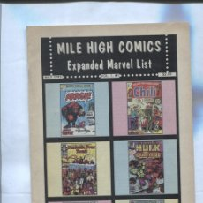 Cómics: MILE HIGH COMICS: EXPANDED MARVEL LIST, VOL 1 Nº 1, MAY 1995. Lote 143713832
