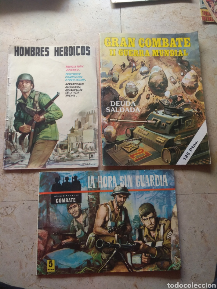 LOTE TEBEOS BÉLICOS - GRAN COMBATE - HOMBRES HEROICOS - CINE COLOR COMBATE - (Tebeos y Comics Pendientes de Clasificar)