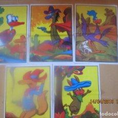 Cómics: DIBUJOS WALT DISNEY EN LAMINAS DE PLASTICO (42 X 30 CM) -5 EJEMPLARES. Lote 159864902