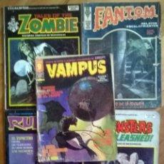 Cómics: LOTE 5 COMICS TERROR: ZOMBIE Nº 14/ RUFUS 16/ FANTOM: EL CUARTO DE LA LOCURA/ MONSTERS 9/ VAMPUS 53. Lote 160015050