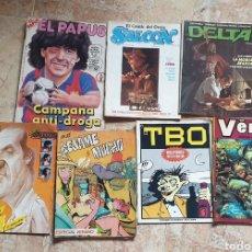 Cómics: LOTE 7 TEBEOS VARIADOS (EL PAPUS, BESAME MUCHO, TBO, DELTA, SALOON, HDIOSO, VERTIGO). Lote 164835092