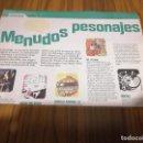 Cómics: MENUDOS PERSONAJES. ARTÍCULO CON PERSONAJES DE COMIC. MONDOSONORO 94. DOS PÁGINAS. RARO. Lote 169059684