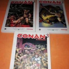 Cómics: CONAN . GRANDES HEROES DEL COMIC. BIBLIOTECA EL MUNDO. Nº 1 ,2 Y 3.. Lote 170066512