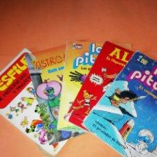 Cómics: LOS PITUFOS . ALEX EN HISPANIA, ASTROSNIKS, HISTORIETAS Y PASATIEMPOS. LOTE. NO SUELTOS.. Lote 177941779