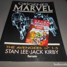 Cómics: FORUM - ORIGENES MARVEL - STAN LEE - JACK KIRBY - THE AVENGERS N 1-5. Lote 195391100