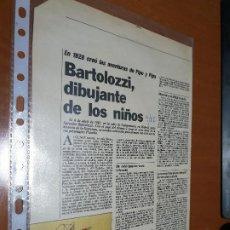 Cómics: BARTOLOZZI. ARTÍCULO DE 2 PÁGINAS GRAPADAS. EXTRAIDAS DE REVISTA. BUEN ESTADO. DIFICIL. Lote 195434733