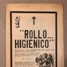 Cómics: ROLLO HIGIÉNICO (SEVILLA 1978). HISTÓRICO FANZINE ORIGINAL; COMIX, MÚSICA, ARTES, POESÍA,.... Lote 205778806