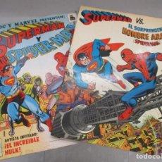 Cómics: SUPERMAN / SPIDERMAN - 2 EJEMPLARES / TAMAÑO GIGANTE / BRUGUERA Y NOVARO / RARISIMOS!!!. Lote 210368245